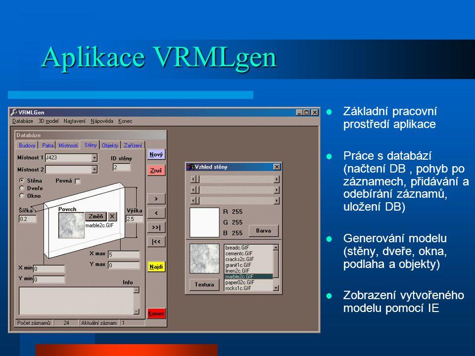 Aplikace VRMLgen Základní pracovní prostředí aplikace Práce s databází (načtení DB, pohyb po záznamech, přidávání a odebírání záznamů, uložení DB) Generování modelu (stěny, dveře, okna, podlaha a objekty) Zobrazení vytvořeného modelu pomocí IE