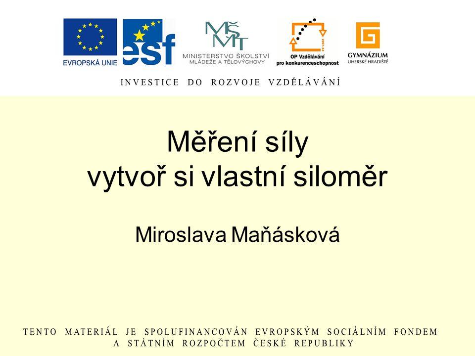 Měření síly vytvoř si vlastní siloměr Miroslava Maňásková