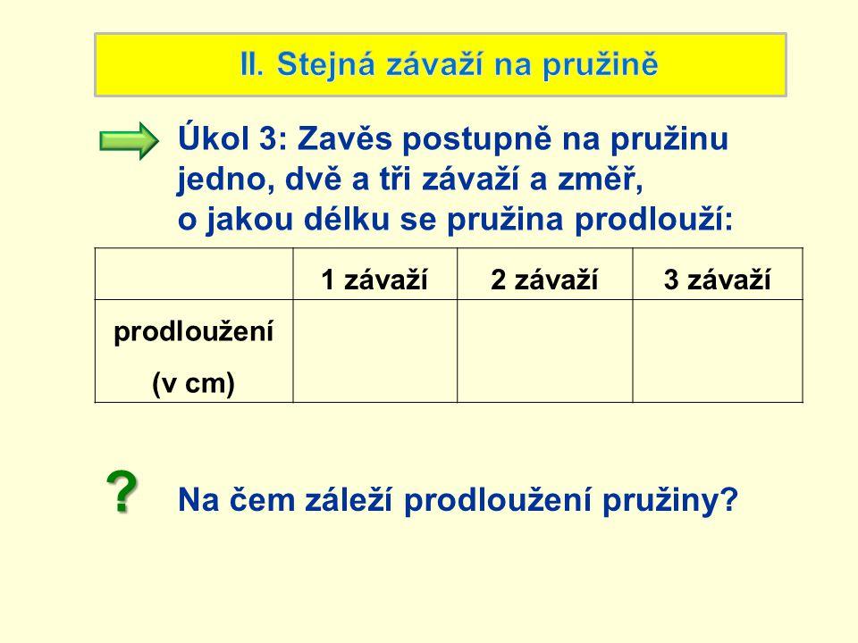 1 závaží2 závaží3 závaží prodloužení (v cm) Úkol 3: Zavěs postupně na pružinu jedno, dvě a tři závaží a změř, o jakou délku se pružina prodlouží: Na č