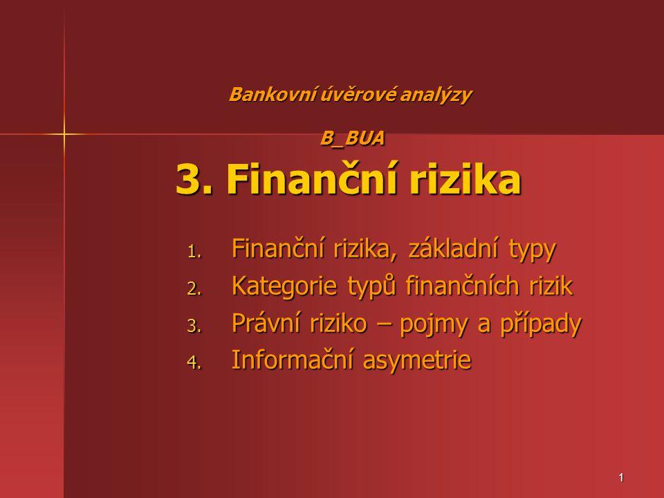 Bankovní úvěrové analýzy B_BUA 3. Finanční rizika 1. Finanční rizika, základní typy 2. Kategorie typů finančních rizik 3. Právní riziko – pojmy a příp