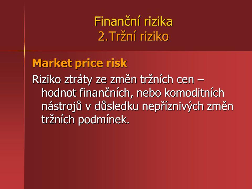 Finanční rizika 2.Tržní riziko Market price risk Riziko ztráty ze změn tržních cen – hodnot finančních, nebo komoditních nástrojů v důsledku nepříznivých změn tržních podmínek.