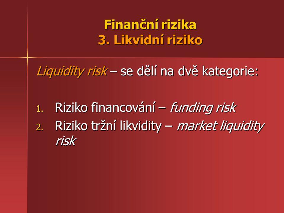 Finanční rizika 3. Likvidní riziko Liquidity risk – se dělí na dvě kategorie: 1.