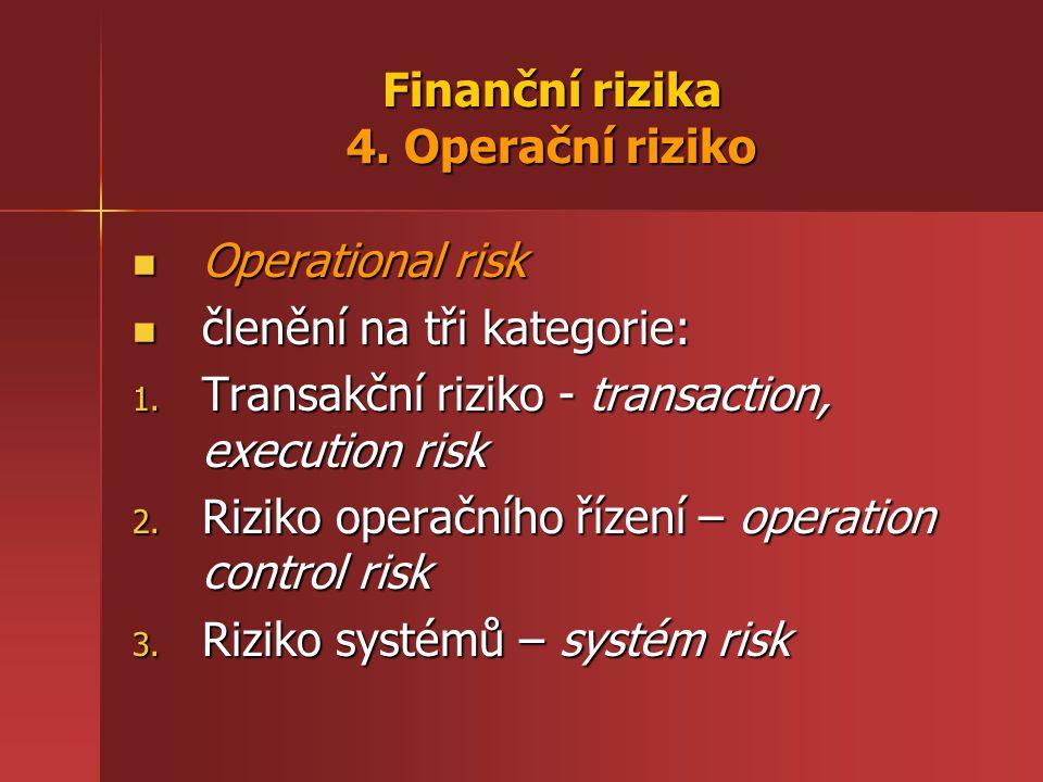 Finanční rizika 4. Operační riziko Operational risk Operational risk členění na tři kategorie: členění na tři kategorie: 1. Transakční riziko - transa