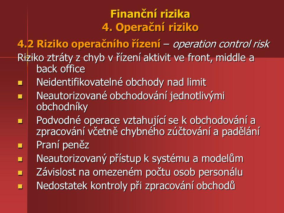 Finanční rizika 4. Operační riziko 4.2 Riziko operačního řízení – operation control risk Riziko ztráty z chyb v řízení aktivit ve front, middle a back