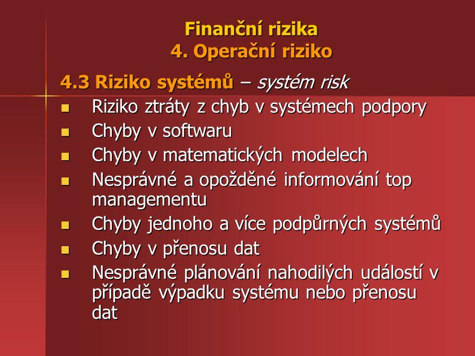 Finanční rizika 4. Operační riziko 4.3 Riziko systémů – systém risk Riziko ztráty z chyb v systémech podpory Riziko ztráty z chyb v systémech podpory