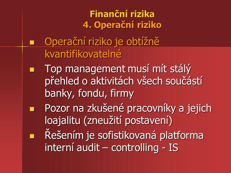 Finanční rizika 4. Operační riziko Operační riziko je obtížně kvantifikovatelné Operační riziko je obtížně kvantifikovatelné Top management musí mít s