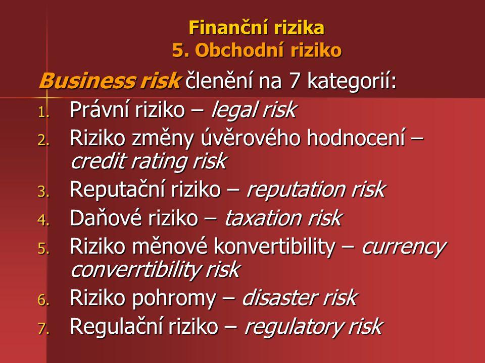 Finanční rizika 5. Obchodní riziko Business risk členění na 7 kategorií: 1. Právní riziko – legal risk 2. Riziko změny úvěrového hodnocení – credit ra