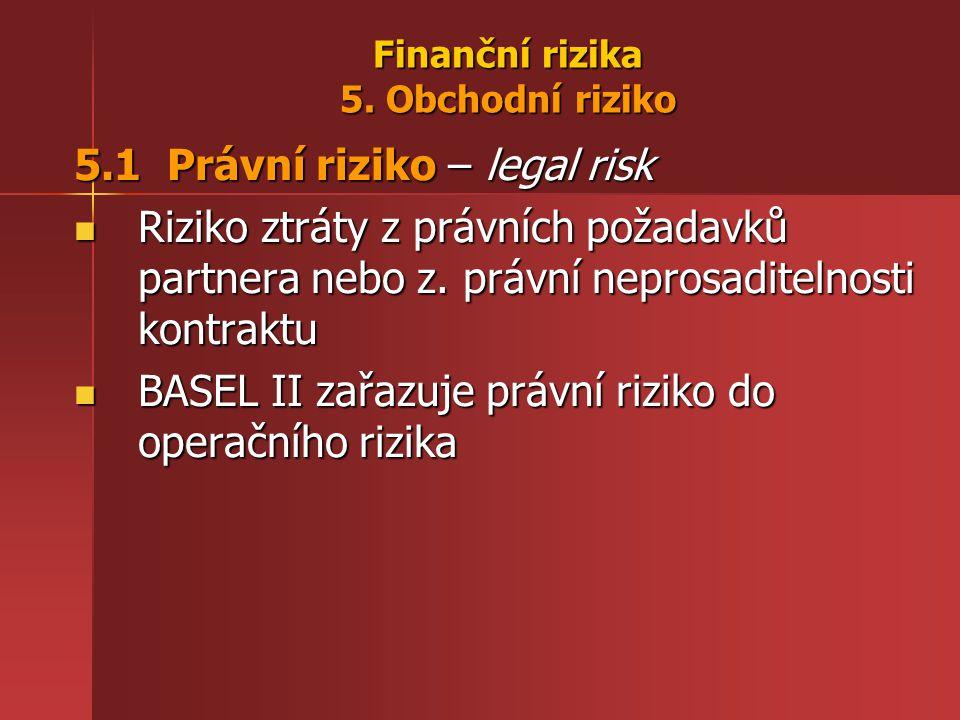 Finanční rizika 5. Obchodní riziko 5.1 Právní riziko – legal risk Riziko ztráty z právních požadavků partnera nebo z. právní neprosaditelnosti kontrak
