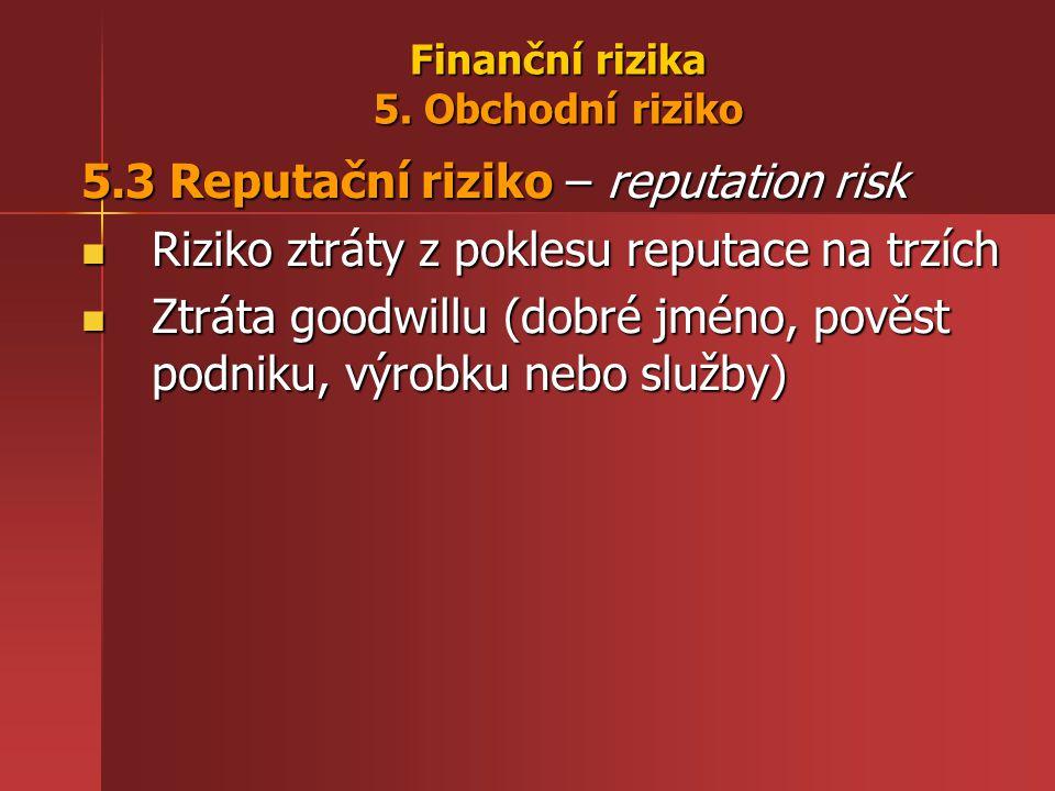 Finanční rizika 5. Obchodní riziko 5.3 Reputační riziko – reputation risk Riziko ztráty z poklesu reputace na trzích Riziko ztráty z poklesu reputace