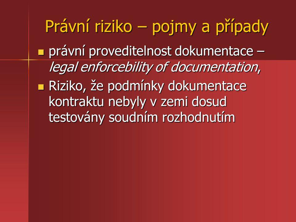 Právní riziko – pojmy a případy právní proveditelnost dokumentace – legal enforcebility of documentation, právní proveditelnost dokumentace – legal en