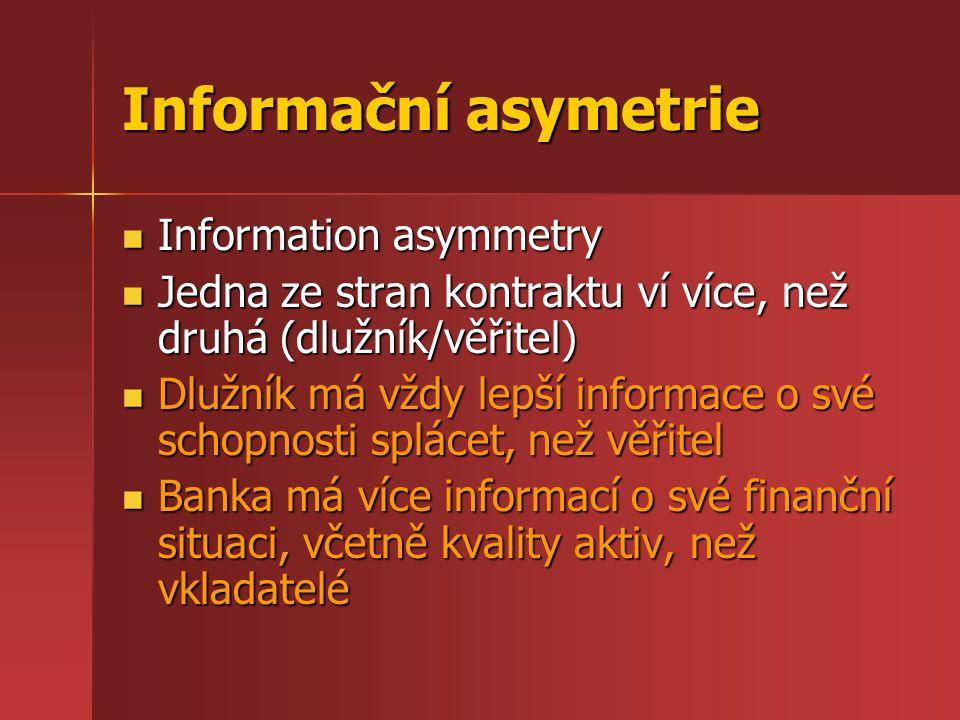 Informační asymetrie Information asymmetry Information asymmetry Jedna ze stran kontraktu ví více, než druhá (dlužník/věřitel) Jedna ze stran kontrakt