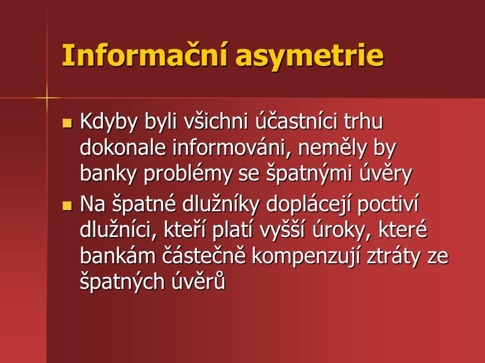 Informační asymetrie Kdyby byli všichni účastníci trhu dokonale informováni, neměly by banky problémy se špatnými úvěry Kdyby byli všichni účastníci t