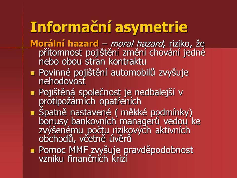 Informační asymetrie Morální hazard – moral hazard, riziko, že přítomnost pojištění změní chování jedné nebo obou stran kontraktu Povinné pojištění au