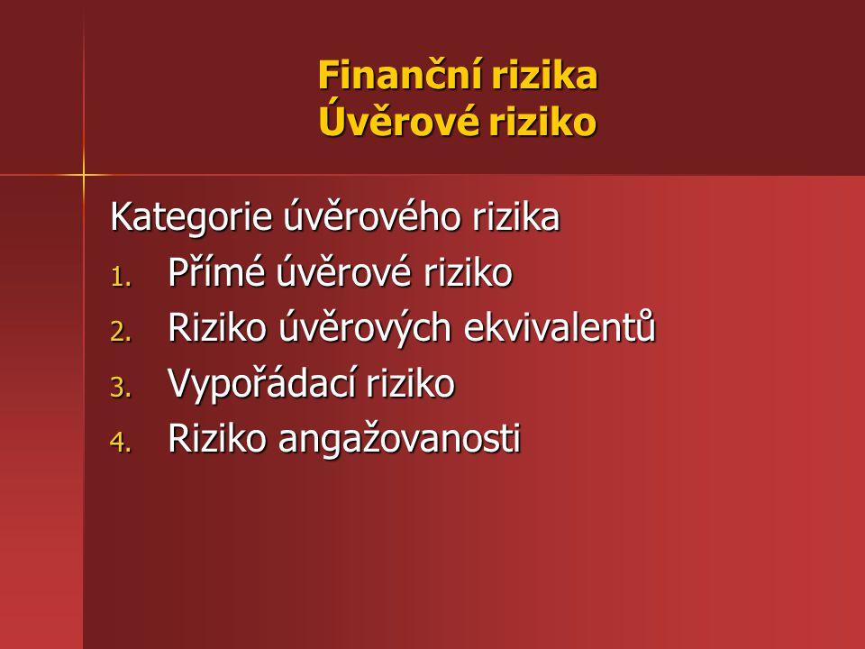 Finanční rizika Úvěrové riziko Kategorie úvěrového rizika 1. Přímé úvěrové riziko 2. Riziko úvěrových ekvivalentů 3. Vypořádací riziko 4. Riziko angaž