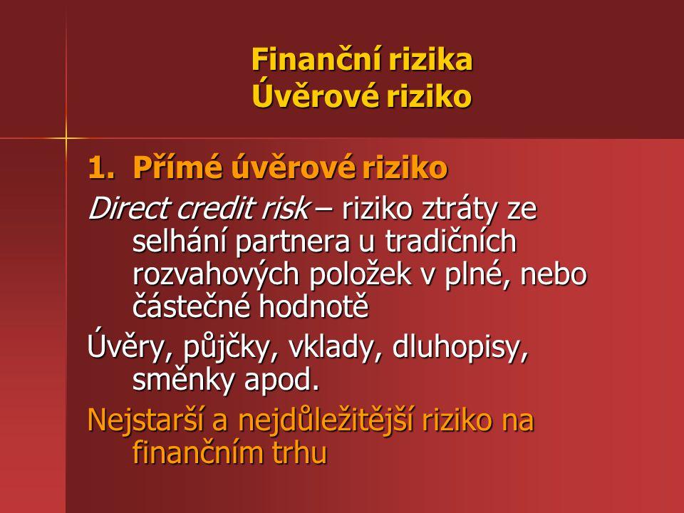 Finanční rizika Úvěrové riziko 1.Přímé úvěrové riziko Direct credit risk – riziko ztráty ze selhání partnera u tradičních rozvahových položek v plné, nebo částečné hodnotě Úvěry, půjčky, vklady, dluhopisy, směnky apod.