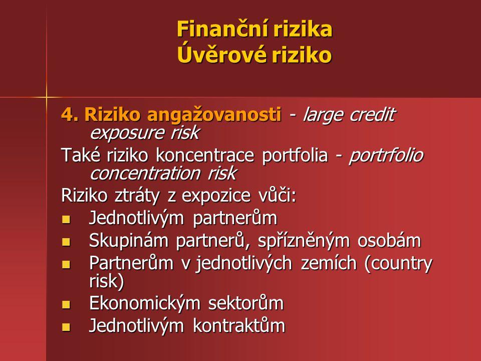 Finanční rizika Úvěrové riziko 4. Riziko angažovanosti - large credit exposure risk Také riziko koncentrace portfolia - portrfolio concentration risk