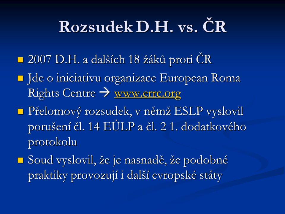 Rozsudek D.H. vs. ČR 2007 D.H. a dalších 18 žáků proti ČR 2007 D.H. a dalších 18 žáků proti ČR Jde o iniciativu organizace European Roma Rights Centre