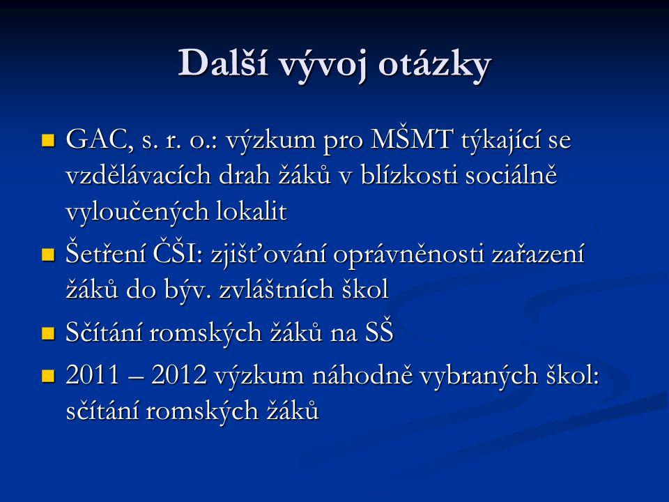 Další vývoj otázky GAC, s.r.