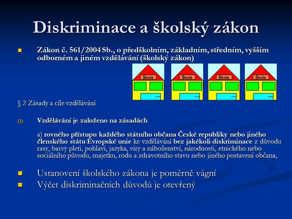 Diskriminace a školský zákon Zákon č. 561/2004 Sb., o předškolním, základním, středním, vyšším odborném a jiném vzdělávání (školský zákon) Zákon č. 56