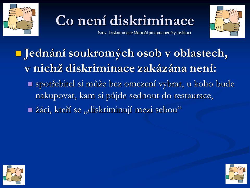 Co není diskriminace Jednání soukromých osob v oblastech, v nichž diskriminace zakázána není: Jednání soukromých osob v oblastech, v nichž diskriminac