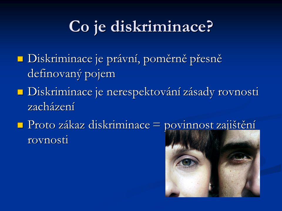 Diskriminace je právní, poměrně přesně definovaný pojem Diskriminace je právní, poměrně přesně definovaný pojem Diskriminace je nerespektování zásady rovnosti zacházení Diskriminace je nerespektování zásady rovnosti zacházení Proto zákaz diskriminace = povinnost zajištění rovnosti Proto zákaz diskriminace = povinnost zajištění rovnosti Co je diskriminace?
