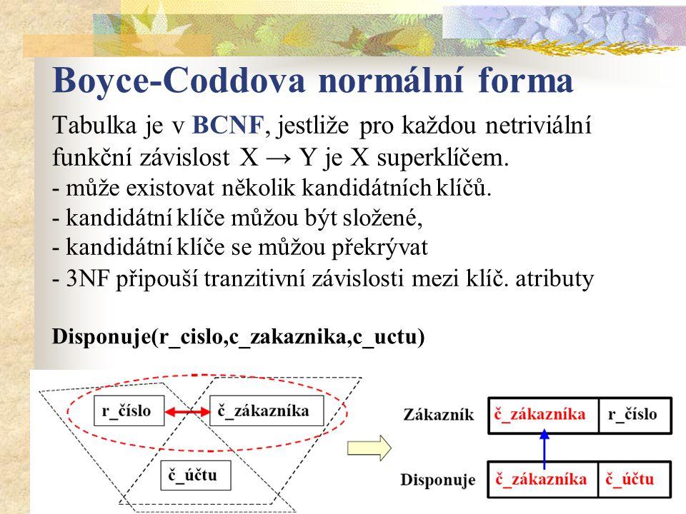 Boyce-Coddova normální forma Tabulka je v BCNF, jestliže pro každou netriviální funkční závislost X → Y je X superklíčem.