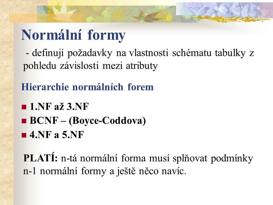 Normální formy - definují požadavky na vlastnosti schématu tabulky z pohledu závislosti mezi atributy Hierarchie normálních forem 1.NF až 3.NF BCNF – (Boyce-Coddova) 4.NF a 5.NF PLATÍ: n-tá normální forma musí splňovat podmínky n-1 normální formy a ještě něco navíc.