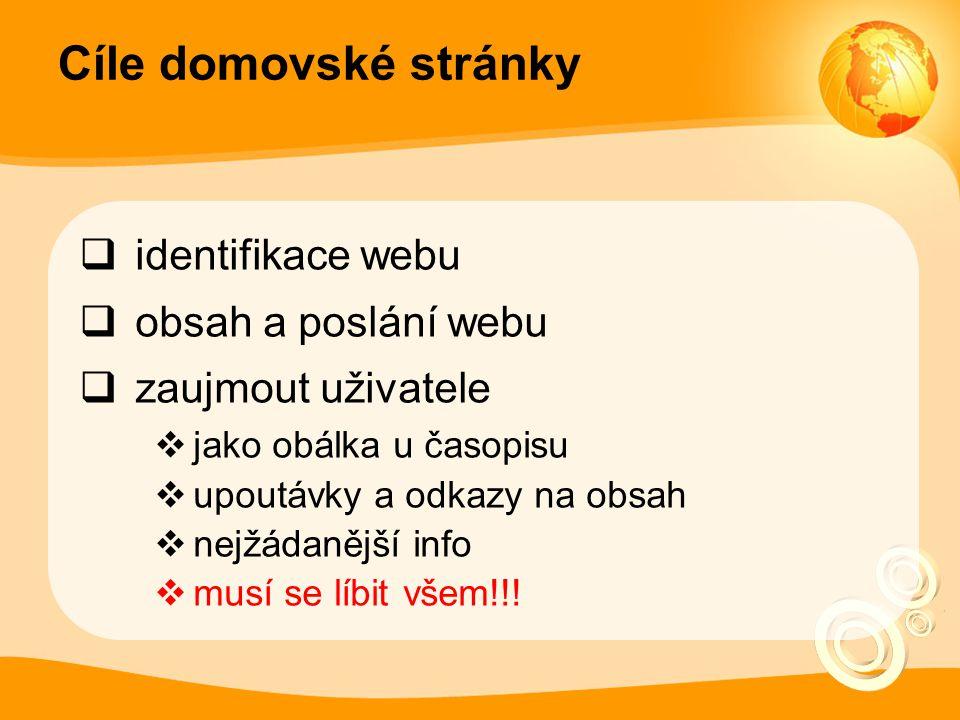 Cíle domovské stránky  identifikace webu  obsah a poslání webu  zaujmout uživatele  jako obálka u časopisu  upoutávky a odkazy na obsah  nejžáda