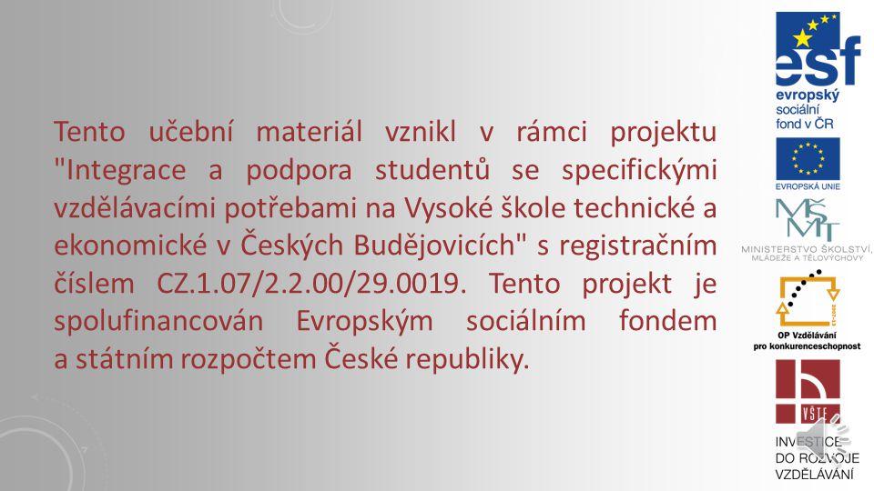 KLOUBOVÉ MECHANISMY Vysoká škola technická a ekonomická v Českých Budějovicích Institute of Technology And Business In České Budějovice