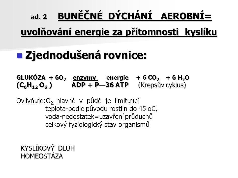 ad. 2 BUNĚČNÉ DÝCHÁNÍ AEROBNÍ= uvolňování energie za přítomnosti kyslíku ad. 2 BUNĚČNÉ DÝCHÁNÍ AEROBNÍ= uvolňování energie za přítomnosti kyslíku Zjed