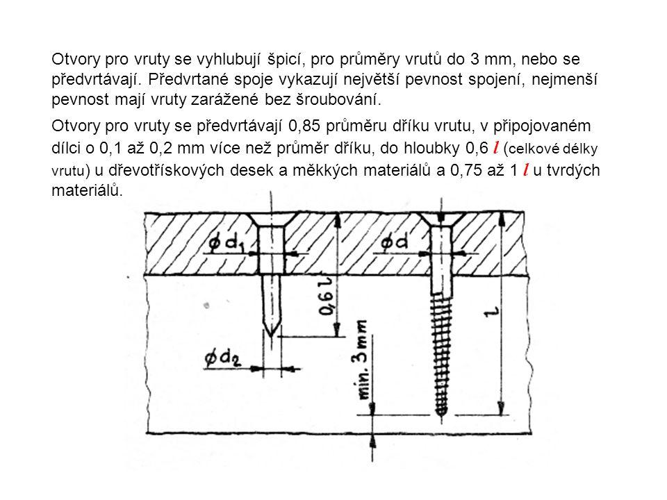 Otvory pro vruty se vyhlubují špicí, pro průměry vrutů do 3 mm, nebo se předvrtávají. Předvrtané spoje vykazují největší pevnost spojení, nejmenší pev
