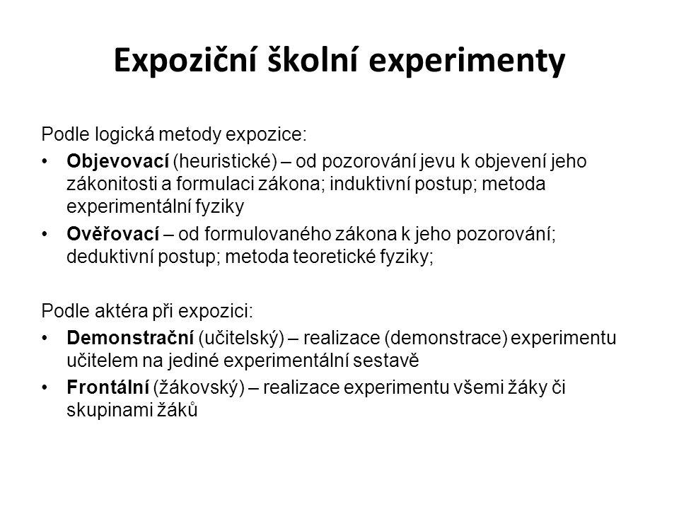 Expoziční školní experimenty Podle logická metody expozice: Objevovací (heuristické) – od pozorování jevu k objevení jeho zákonitosti a formulaci záko