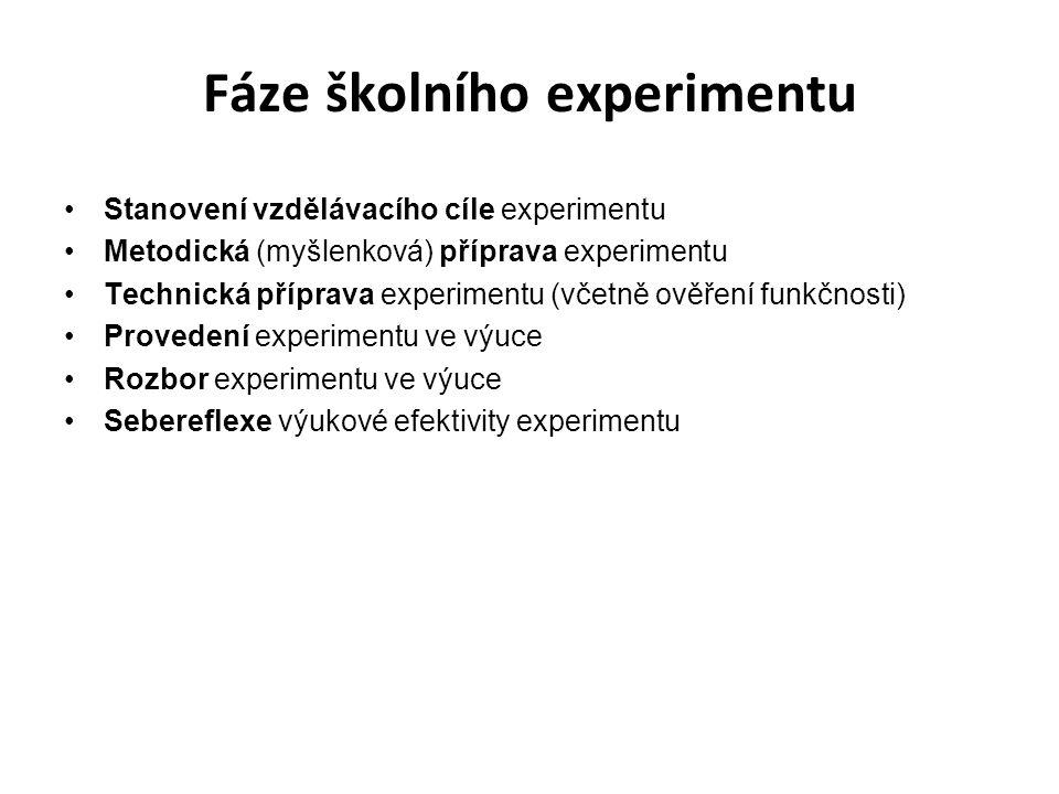 Fáze školního experimentu Stanovení vzdělávacího cíle experimentu Metodická (myšlenková) příprava experimentu Technická příprava experimentu (včetně o