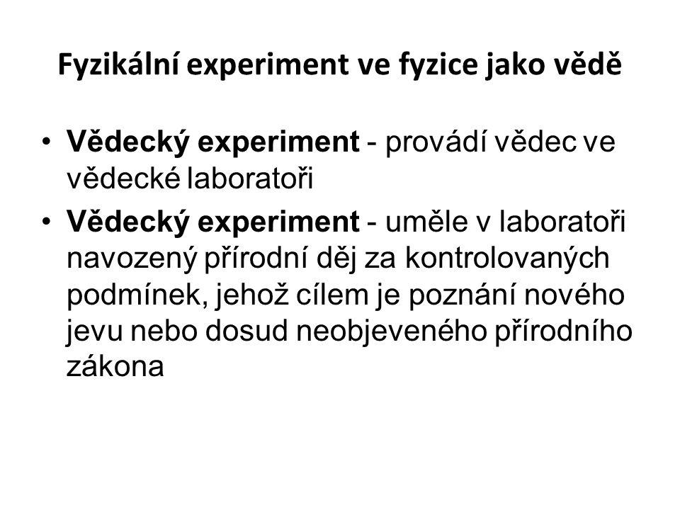 Fyzikální experiment ve fyzice jako vědě Vědecký experiment - provádí vědec ve vědecké laboratoři Vědecký experiment - uměle v laboratoři navozený pří