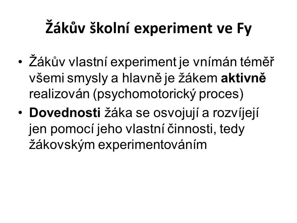 Žákův školní experiment ve Fy Žákův vlastní experiment je vnímán téměř všemi smysly a hlavně je žákem aktivně realizován (psychomotorický proces) Dove