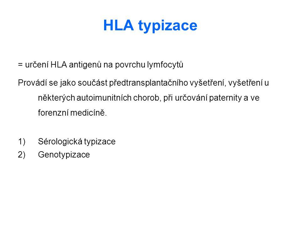 HLA typizace = určení HLA antigenů na povrchu lymfocytů Provádí se jako součást předtransplantačního vyšetření, vyšetření u některých autoimunitních c