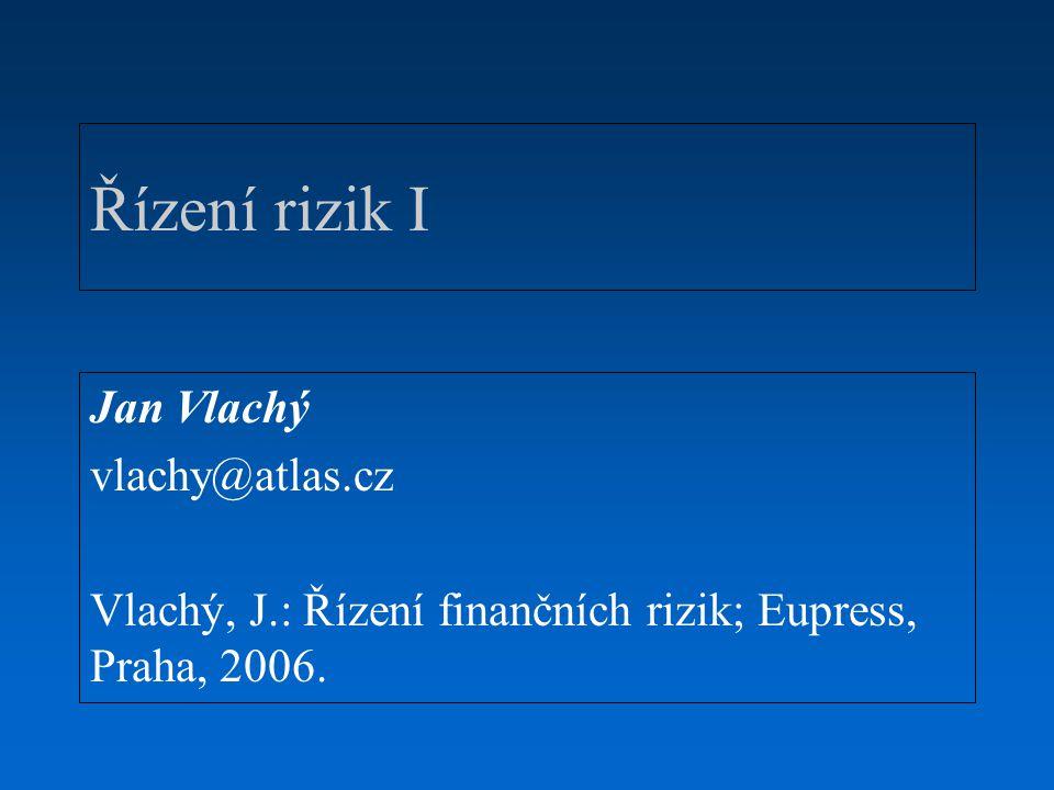 Řízení rizik I Jan Vlachý vlachy@atlas.cz Vlachý, J.: Řízení finančních rizik; Eupress, Praha, 2006.