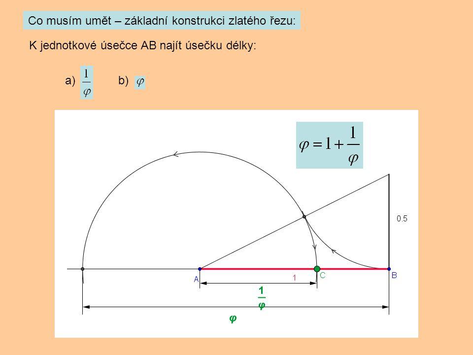 Co musím umět – základní konstrukci zlatého řezu: K jednotkové úsečce AB najít úsečku délky: a) b)