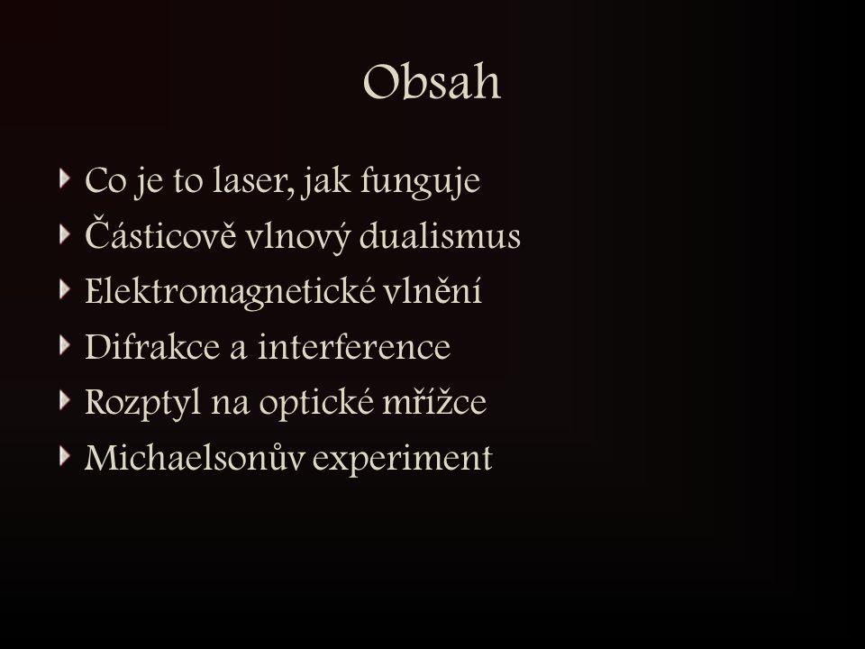 Obsah Co je to laser, jak funguje Č ásticov ě vlnový dualismus Elektromagnetické vln ě ní Difrakce a interference Rozptyl na optické m ř í ž ce Michae