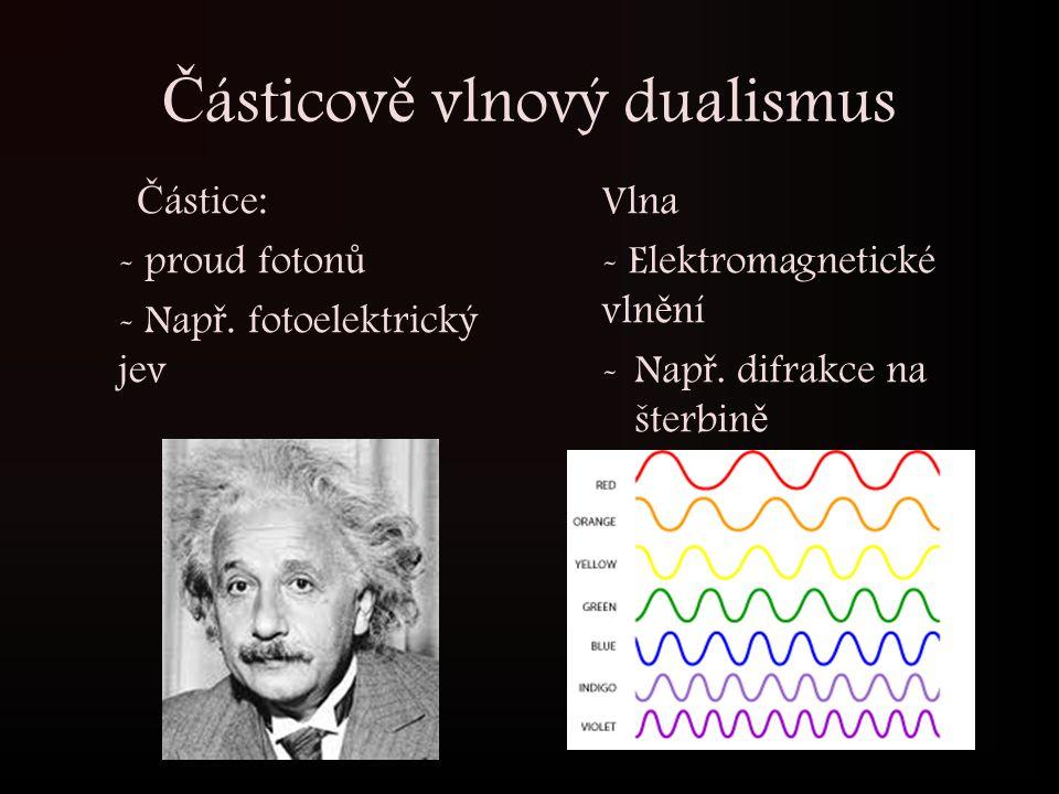 Č ásticov ě vlnový dualismus Č ástice: - proud foton ů - Nap ř. fotoelektrický jev Vlna - Elektromagnetické vln ě ní -Nap ř. difrakce na šterbin ě