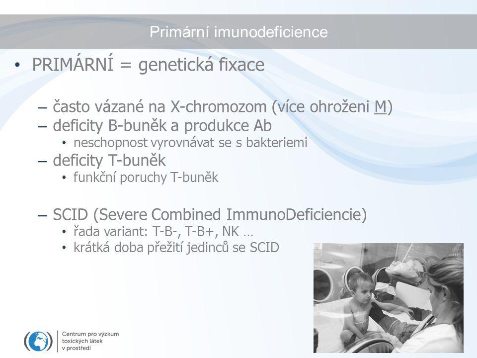 Primární imunodeficience PRIMÁRNÍ = genetická fixace – často vázané na X-chromozom (více ohroženi M) – deficity B-buněk a produkce Ab neschopnost vyro