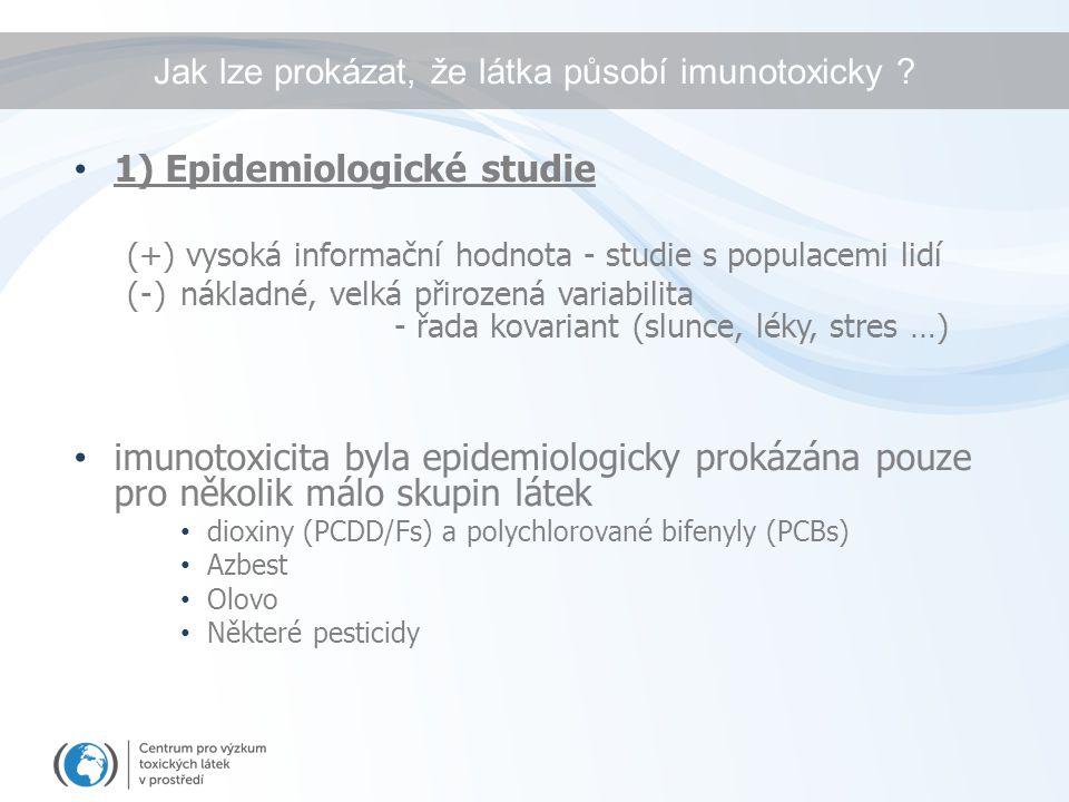 Jak lze prokázat, že látka působí imunotoxicky ? 1) Epidemiologické studie (+) vysoká informační hodnota - studie s populacemi lidí ( - ) nákladné, ve