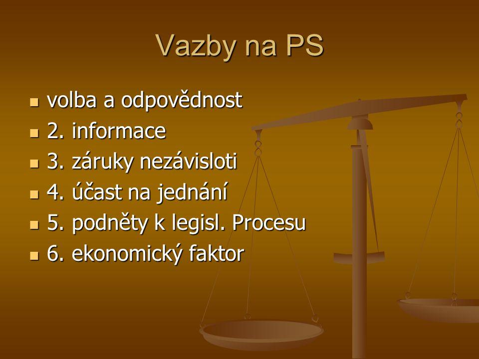 Vazby na PS volba a odpovědnost volba a odpovědnost 2. informace 2. informace 3. záruky nezávisloti 3. záruky nezávisloti 4. účast na jednání 4. účast