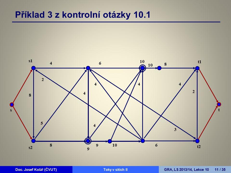 Doc. Josef Kolář (ČVUT)Prohledávání grafůGRA, LS 2010/11, Lekce 4 11 / 15Doc. Josef Kolář (ČVUT)Toky v sítích IIGRA, LS 2013/14, Lekce 10 11 / 35 Přík