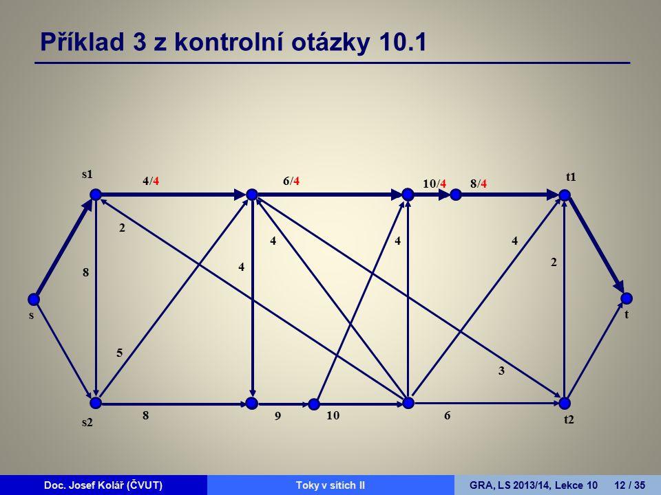 Doc. Josef Kolář (ČVUT)Prohledávání grafůGRA, LS 2010/11, Lekce 4 12 / 15Doc. Josef Kolář (ČVUT)Toky v sítích IIGRA, LS 2013/14, Lekce 10 12 / 35 4/4
