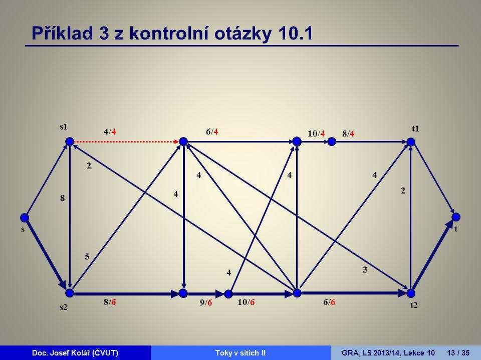 Doc. Josef Kolář (ČVUT)Prohledávání grafůGRA, LS 2010/11, Lekce 4 13 / 15Doc. Josef Kolář (ČVUT)Toky v sítích IIGRA, LS 2013/14, Lekce 10 13 / 35 Přík