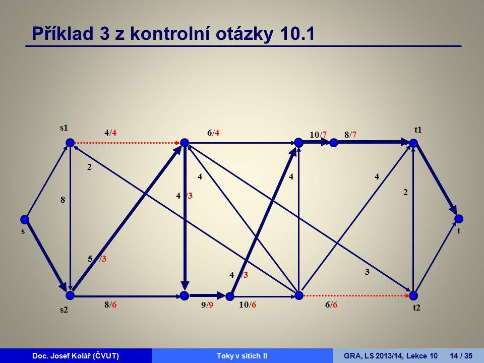 Doc. Josef Kolář (ČVUT)Prohledávání grafůGRA, LS 2010/11, Lekce 4 14 / 15Doc. Josef Kolář (ČVUT)Toky v sítích IIGRA, LS 2013/14, Lekce 10 14 / 35 4/4