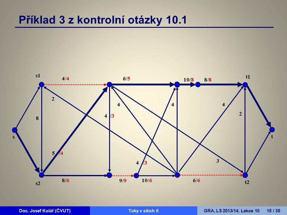 Doc. Josef Kolář (ČVUT)Prohledávání grafůGRA, LS 2010/11, Lekce 4 15 / 15Doc. Josef Kolář (ČVUT)Toky v sítích IIGRA, LS 2013/14, Lekce 10 15 / 35 4/4