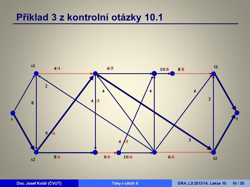 Doc. Josef Kolář (ČVUT)Prohledávání grafůGRA, LS 2010/11, Lekce 4 16 / 15Doc. Josef Kolář (ČVUT)Toky v sítích IIGRA, LS 2013/14, Lekce 10 16 / 35 4/4