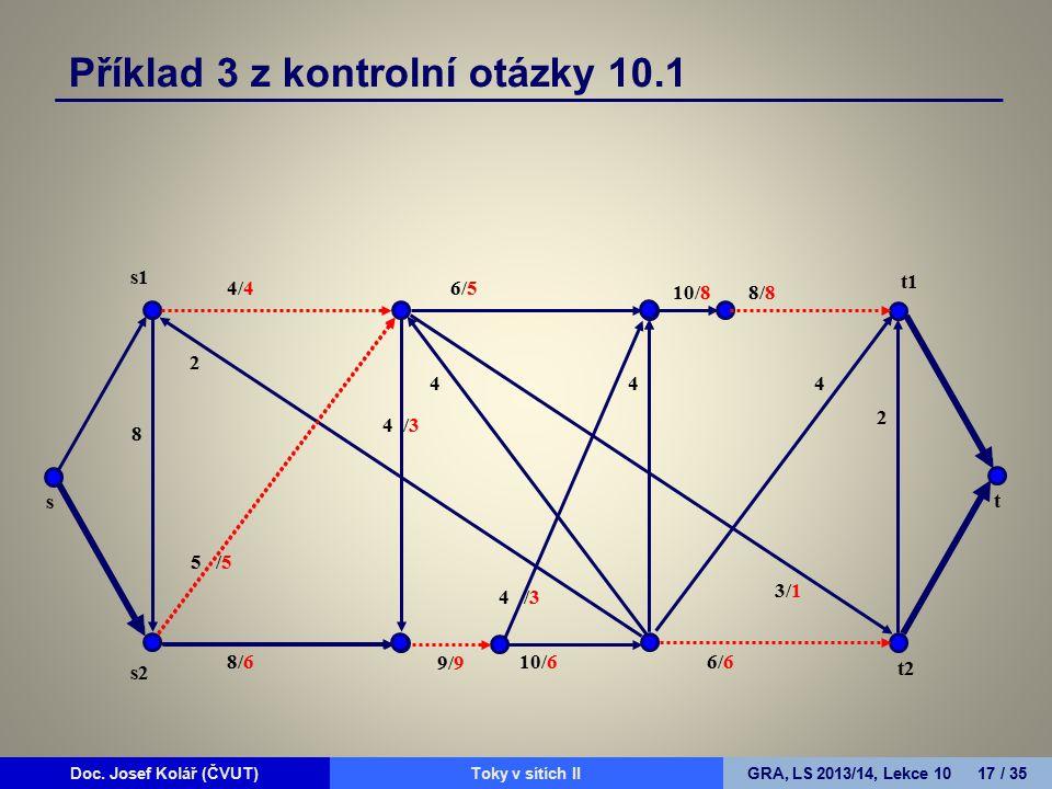 Doc. Josef Kolář (ČVUT)Prohledávání grafůGRA, LS 2010/11, Lekce 4 17 / 15Doc. Josef Kolář (ČVUT)Toky v sítích IIGRA, LS 2013/14, Lekce 10 17 / 35 4/4